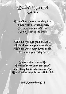 Wedding Day Thank You Gift, Father Of The Bride Poem A5 ...