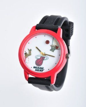 NBA Miami Heat Shooting Ball Red Watch and Black Band by Overtime Watch. $30.59. Team name is engraved on back of watch. fashionable. Lifetime Waranty. Rotating ball scores every minute. Team name is engraved on clasp. Wear the NBA on your arm with The watch that scores every minute. This unique, patented rotating  ball second hand scores a bucket once each minute. The watch features the team name laser engraved on the back and the buckle.  This is by far the coolest NBA watch...