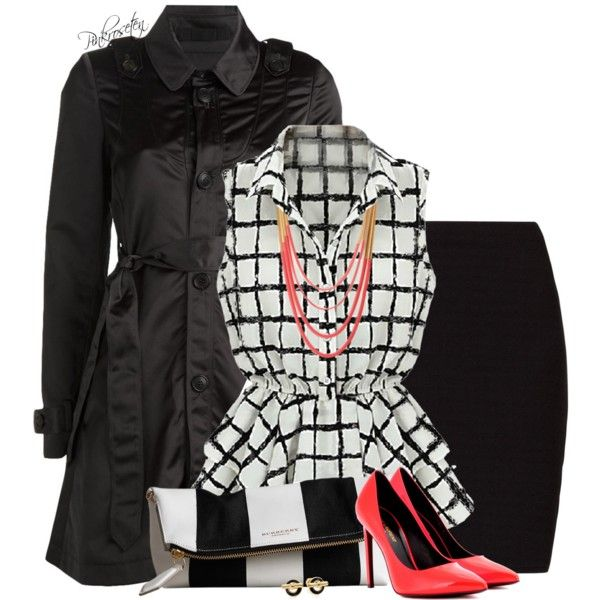 Black & White, with Neon Accessories, created by pinkroseten on Polyvore