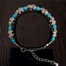 Natural Stone Elephant Bead Chain Bracelet