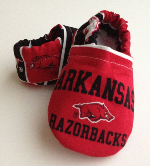 Arkansas Razorbacks Baby Booties Shoes by saluna on Etsy, $15.00