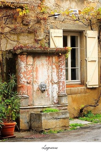 Lagrasse fountain, Languedoc Roussillon, France by cristina