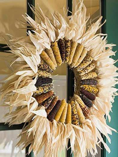 Fall decor - Corn Wreath, -DIY Craft Autumn Wreaths, Fall Wreath. Thanksgiving
