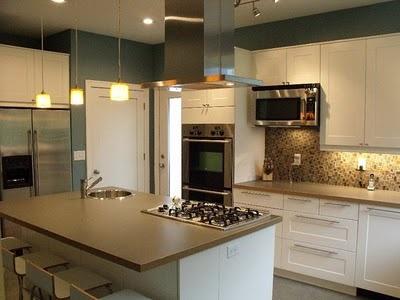 IKEA Adel Kitchen W/tan Counters And Backsplash.