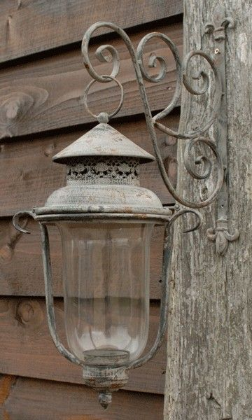 Glass Lantern with metal bracket - Aspen and Brown