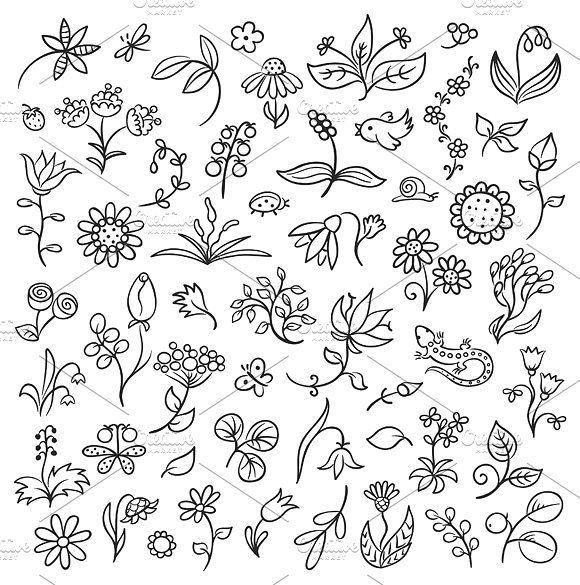 Floral Design Elements Doodle Art Flowers Floral Drawing Flower Doodles