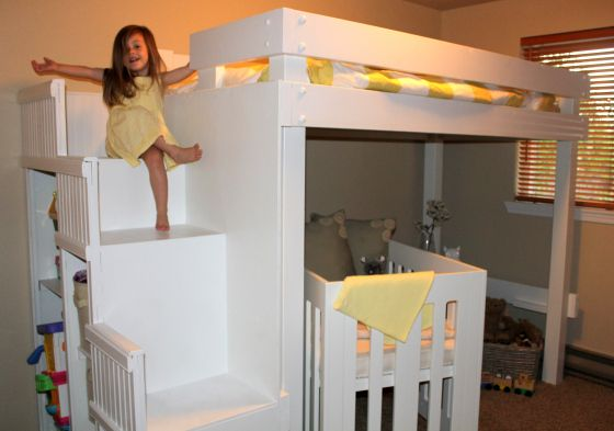 DIY bunk bed with crib - for the boys?
