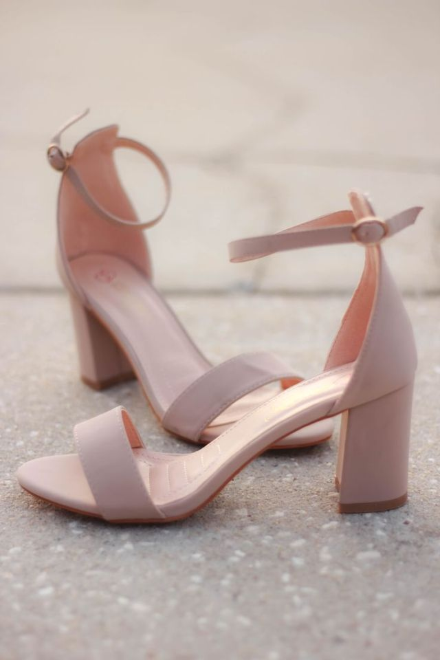 Bare Heels That Will Go With Any Outfit And A Fairly Low Heel