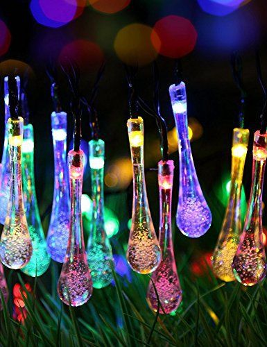 #garden #decor #light #solar 30 LED Solar String Lights, Waterproof Fairy Water Drop Lights, 2 modes, for Indoor/Outdoor Home, Patio, Lawn,…