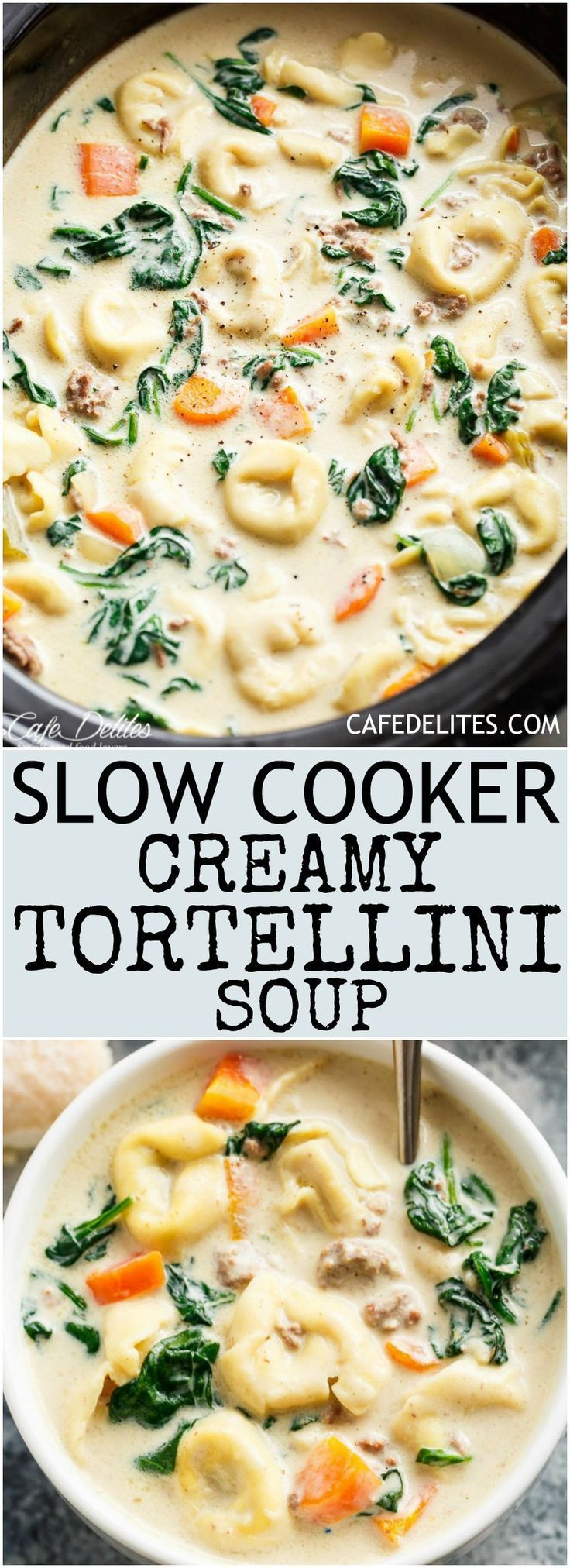 Slow Cooker Creamy Tortellini Soup is pure comfort food, loaded with vegetables, Italian sausage and cheese tortellini! NO flour and NO heavy cream! | cafedelites.com