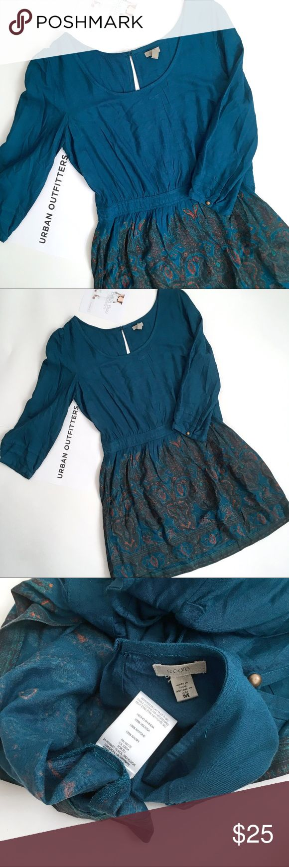 UO Ecote Teal patterned mini dress Excellent used condition urban outfitters ecote mini dress with fitted waist and full skirt. Size medium. Please see all photos. Back zipper closure. Urban Outfitters Dresses Mini