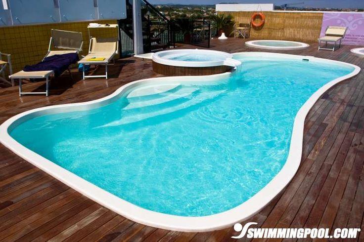 Fiberglass Pool in Wooden Deck outdoor ideas and