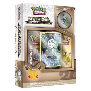 Now Meloetta is at your command! Rare and mysterious, Mythical Pokemon arrive when they choose-and disappear just as quickly! Step forward into a new level of play with the Pokemon Tradin Card Game: Mythical Pokemon Collection-Meloetta! Included in this package is a never before seen foil promo card featuring Meloetta, a Meloetta collector's pin, 2 special Pokemon Trading Card Game: Generations Booster packs to expand your collection, and a code card for the Pokemon Trading card Game onli...