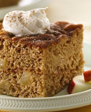 Five ingredients + three steps = the easiest fall cake recipe you'll ever make. The timeless combo of apples and cinnamon is sweet and slightly spicy—top with a scoop of pecan ice cream and a drizzle of caramel syrup for a candy apple-style treat.