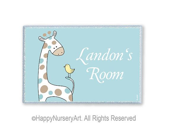 Children personalized name door plaque boys nursery sign, baby shower gift , cute giraffe and bird, light blue. $17.00, via Etsy.