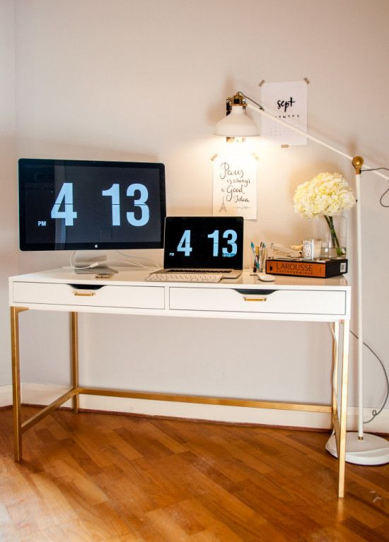 A standard, white Ikea desk was transformed using gold spray paint on the desk legs and gold drawer pull handles.  For full information, before and after photos plus the background story behind the st