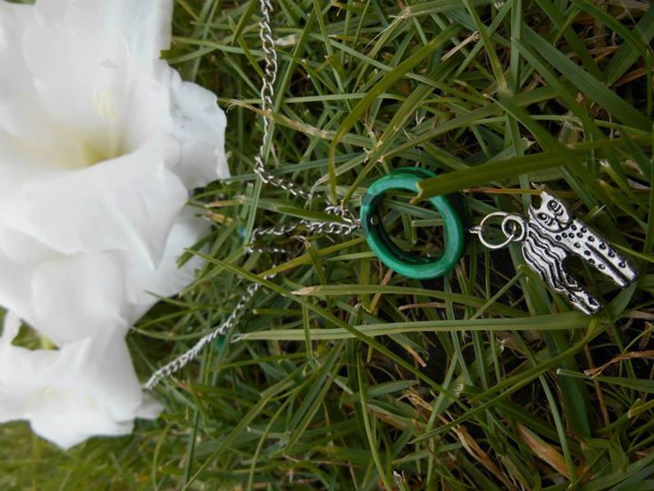 Malachite necklace with cat medal by Zsuzsanka on Etsy