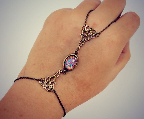 slave bracelet pink opal and filigree opal hand by alapopjewelry