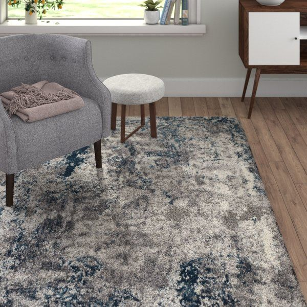 Grey Shag Rug Blue