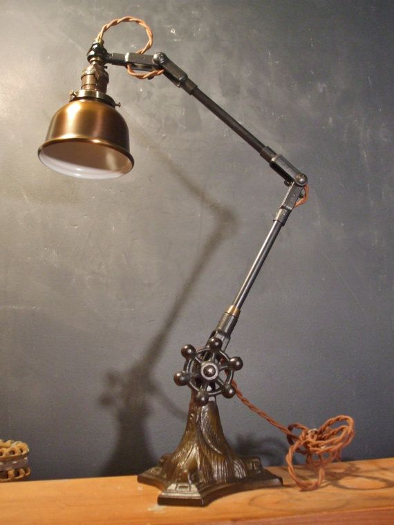 Vintage Industrial Desk L& w/ Bell Cage - Machine Age Task Light - Cast Iron - Ste&unk & 1052 best Lights images on Pinterest | Industrial lighting ... azcodes.com