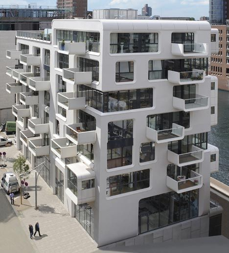 This apartment building by Austrian architects LOVE architecture is part of the ongoing redevelopment of the port of Hamburg, Germany.