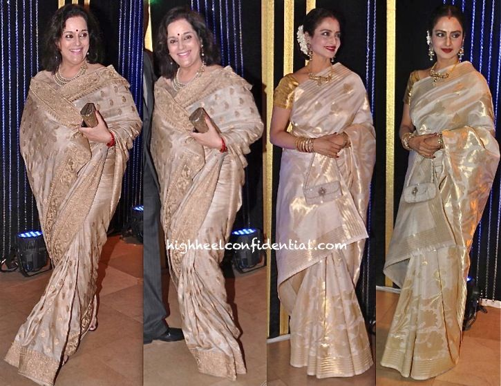 Poonam Sinha And Rekha At Rakesh Roshan Birthday bash - yep - i can't get over my white and gold/beige and gold fixation