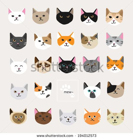 Cat collection.  It is a collection of fifteen cat faces.  - stock vector