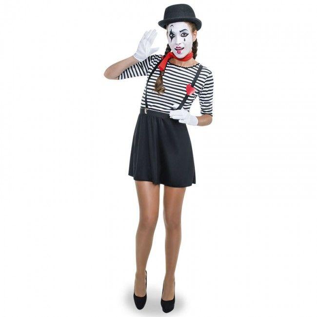 Disfraz de Mimo Clown para mujer #disfraces #carnaval #novedades2017