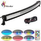 """52"""" 300w Curved Led light bar with Chase RGB Halo over 72 modes color changing"""