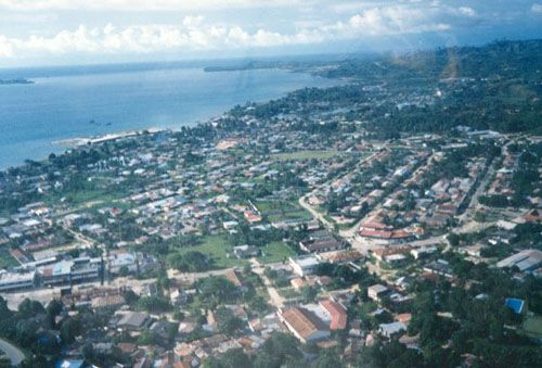 Sorong city seen from the air