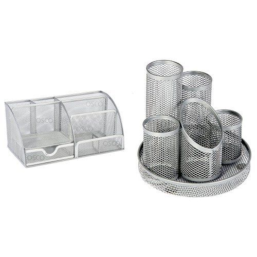 From 8.29:Osco Mesh Large Desk Organiser Scratch-resistant With Non-marking Rubber Pads Silver Ref Md02 S And Osco Mesh Pencil Pot Scratch-resistant With Non-marking Base 5 Tube Silver