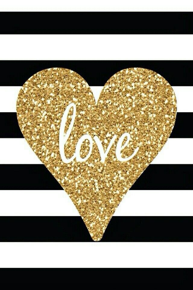 Gold heart love with black and white stripes