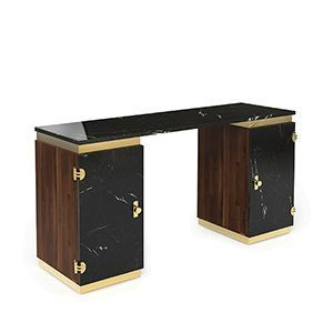 Lasdun is a writing desk inspired in the brutalist works of Denys Lasdun. It features two cubic towers crafted from varnished walnut veneer with both two doors in nero marquina marble, boasting a clean and monolithic presence. Brass details were added to the base and below the marble countertop, producing a soulful and sleek visual to this desk.