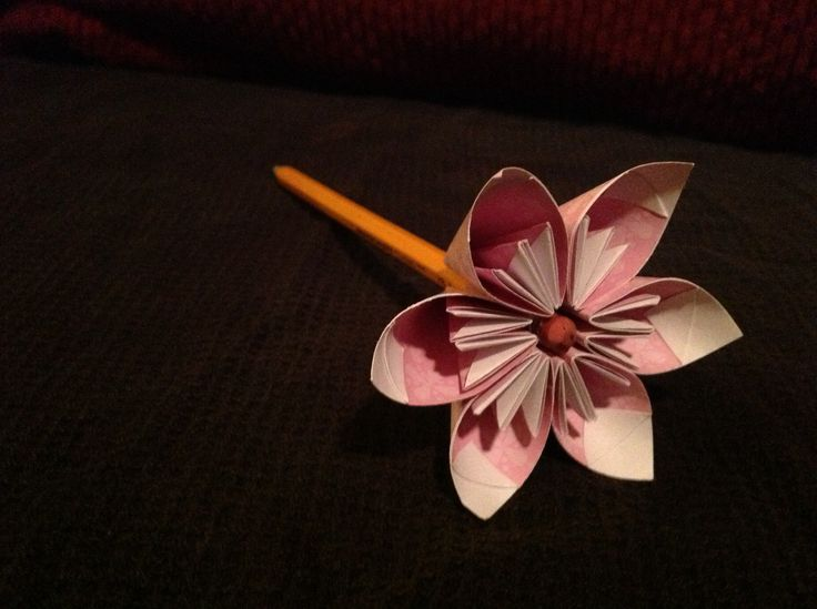Pencil Topper Origami Flower Six Peddles Paper Crafts By