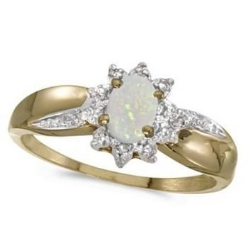 Opal & Diamond Right Hand Flower Shaped Ring 14k Yellow Gold (0.55ct) - Allurez.com