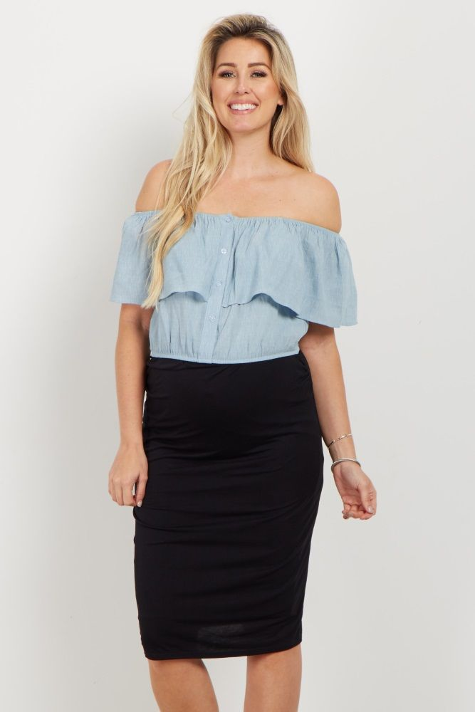 This amazing maternity crop top is a life changer this season! A trendy off shoulder gives a feminine feel, and the button down detail gives a unique look to this crop top. Style this with a maxi skirt and wedges for a complete look.