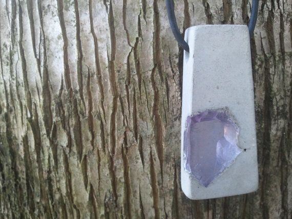 Concrete Jewelry - Natural gray recycled light purple glass chip aggregate urban fossil. $24.95, via Etsy.