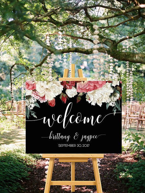 Printable Marsala Black Floral Welcome Sign, Wedding Welcome Sign, Watercolor Floral Greenery Burgundy Sign, Boho Wedding Sign Peony Peonies   DETAILS   This listing is for a digital file sent to you as a high quality JPEG for you to download and print at your preferred local print shop. You can choose wording in your preferred language for free. If you need matching cards (menus, wedding programs, table numbers, place cards, aisle signs, etc.), 24 hour customization or other changes, ple...