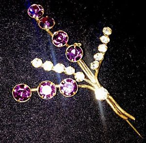 Signed Vintage Brooch Crystal Floral Spray Amethyst Glass Made In Austria  | eBay