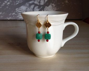 Fun Russian Amazonite and Coral Earrings