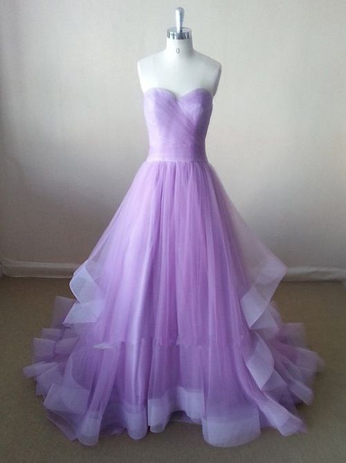 Prom homecoming wedding dress dresses gown gowns dressy event dance school formal beautiful lovely lavender purple pastel light tulle princess pretty strapless fit cut goals train long stunning