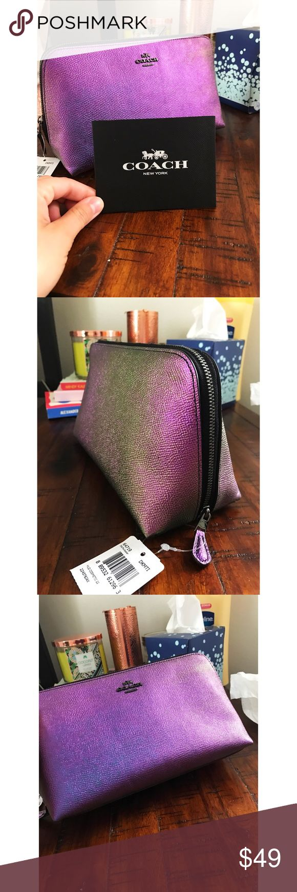Coach Makeup Bag! Genuine leather, super cool purple/green holographic color! Metal zipper, large space inside perfect for makeup or other hygiene products! Brand new, with tags. I can send it with the coach shopping bag it came in too! Inside there's a side pocket as well to keep things organized! Willing to negotiate price ☺ this bag is super cute so don't miss out! Coach Bags Cosmetic Bags & Cases