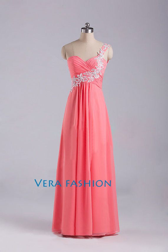 One Shoulder Prom Dress Red Prom Dresses Prom Dress by VeraFashion, $109.00