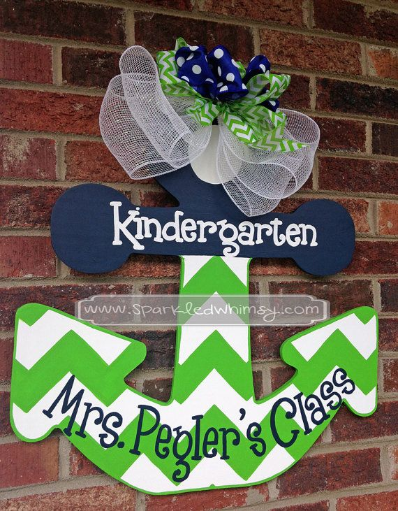 Personalized Chevron Anchor Teacher Door Hanger Sign (Lime Green/Navy Blue)