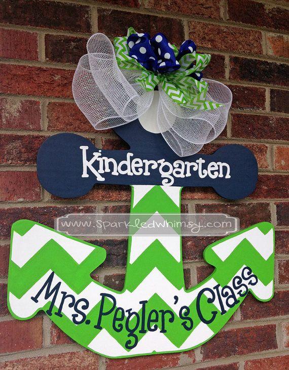 Personalized Chevron Anchor Teacher Door Hanger Sign (Lime Green/Navy Blue)
