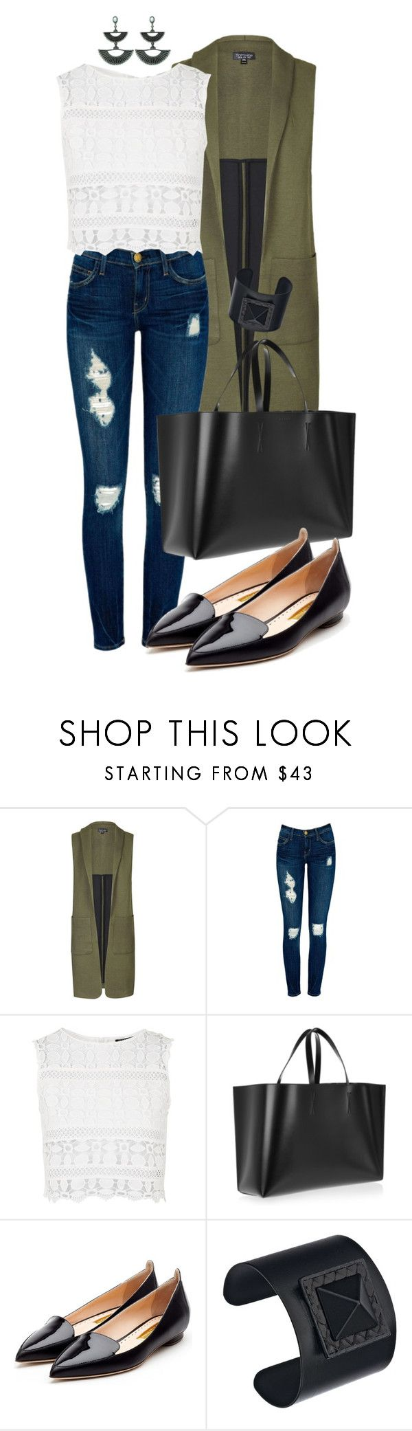 """""""Military Vest"""" by mayumi17 ❤ liked on Polyvore featuring Topshop, Current/Elliott, Marni, Rupert Sanderson and Ted Rossi"""