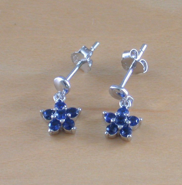 925 Silver Blue Cz Daisy Earrings/Small Silver Daisy Stud Earrings/Cz Jewellery