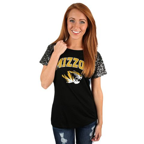 Sequin Sleeve Jersey Mizzou | Impressions Online Women's Clothing Boutique