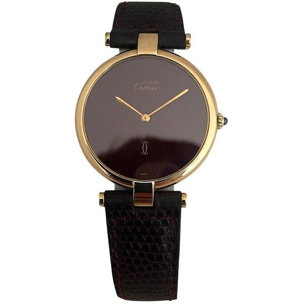 Pre-owned Cartier Must Vendôme Watch (15835 MAD) ❤ liked on Polyvore featuring jewelry, watches, burgundy, preowned jewelry, cabochon watches, pre owned jewelry, cartier jewellery and preowned watches
