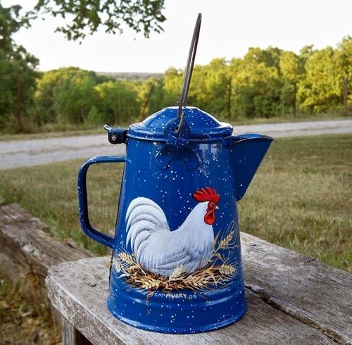VTG BLUE Enamel Granite COFFEE POT HP Rooster Wheat with Wire Bail HandPainted | eBay